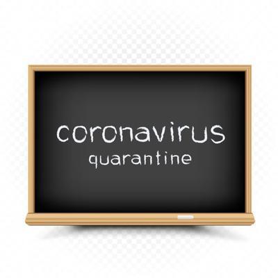 coronavirus quarantine draw on chalkboard Coronavirus quarantine isolation period drawn text on chalkboard. School epidemic infection warning message