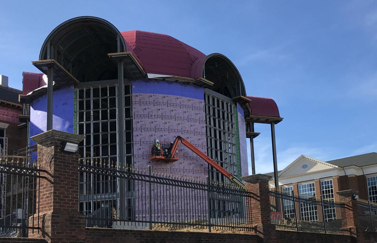 High Point University science building construction exterior front