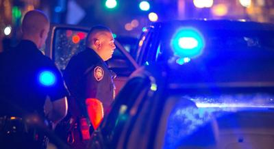 Greensboro police officer blue lights
