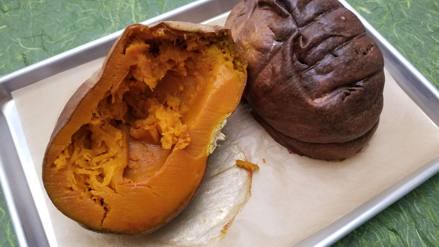 Fresh pumpkin halves
