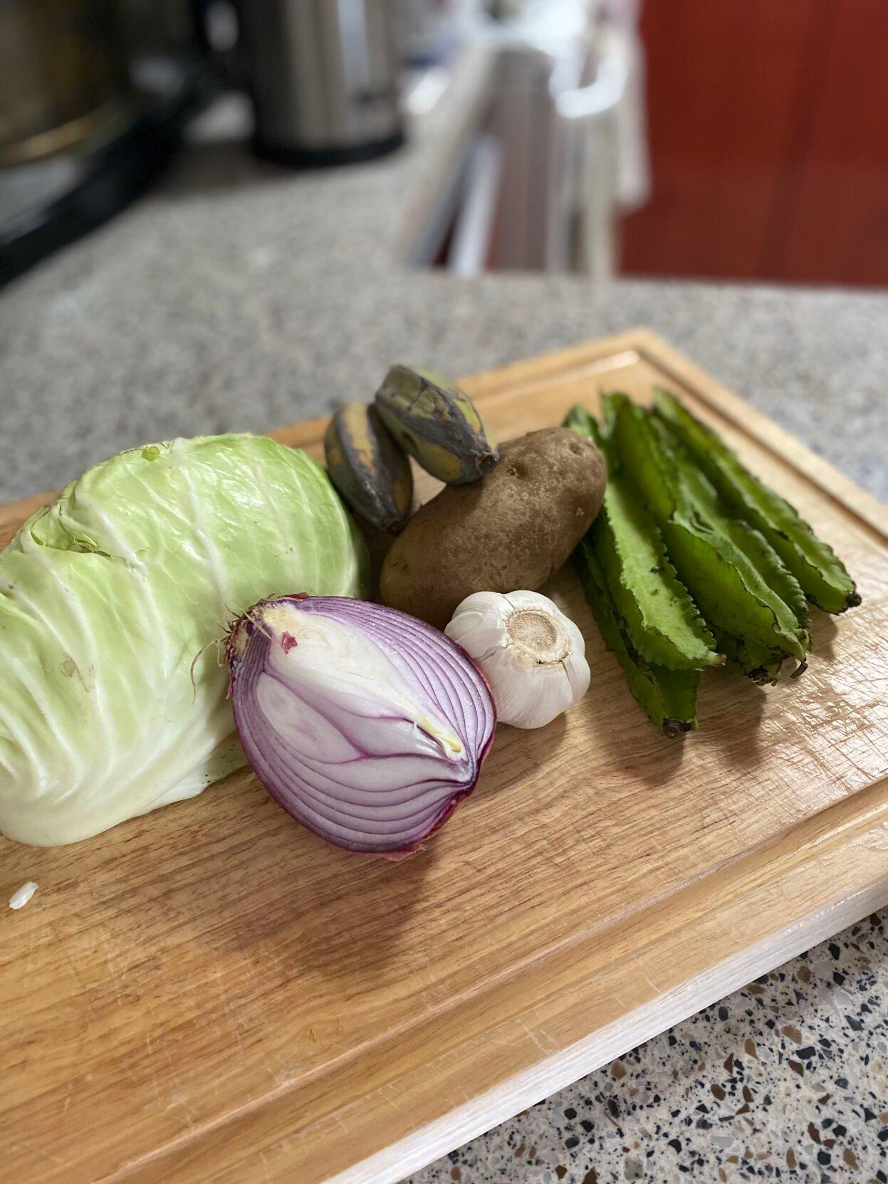 Vegetables for beef shank kaddo