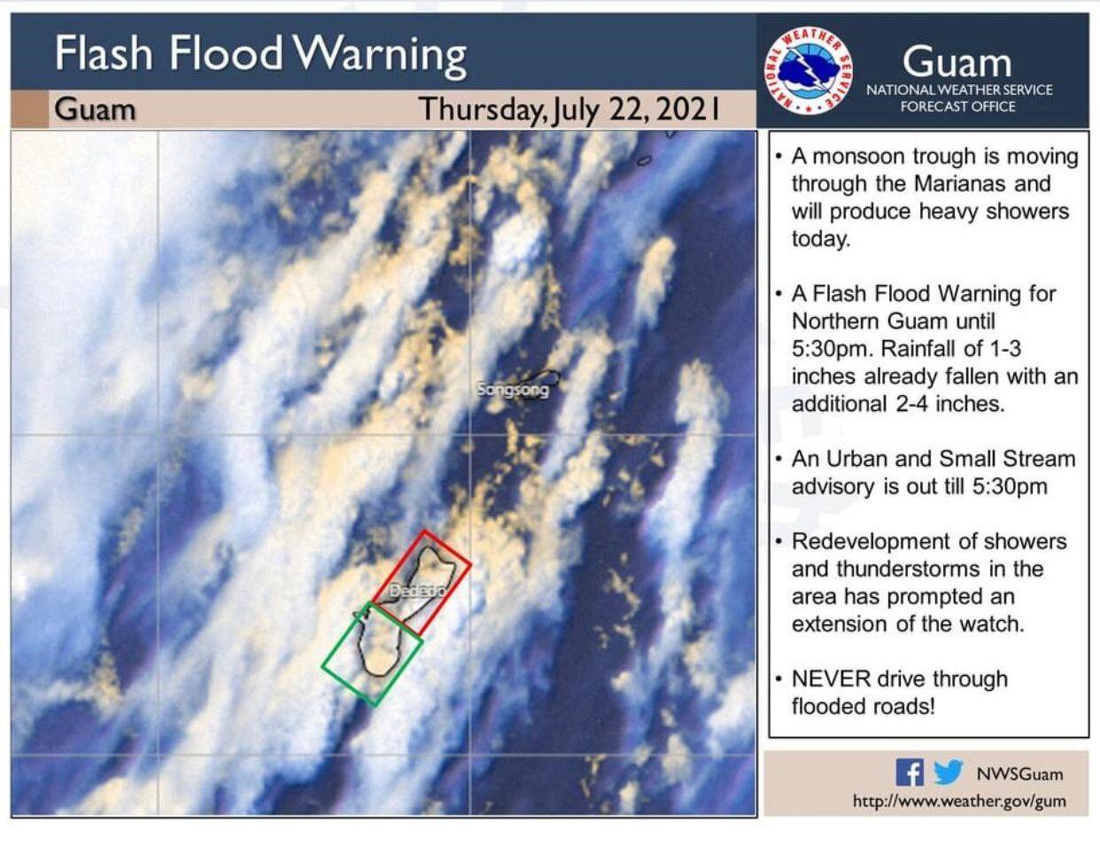 Flash flood warning for northern Guam