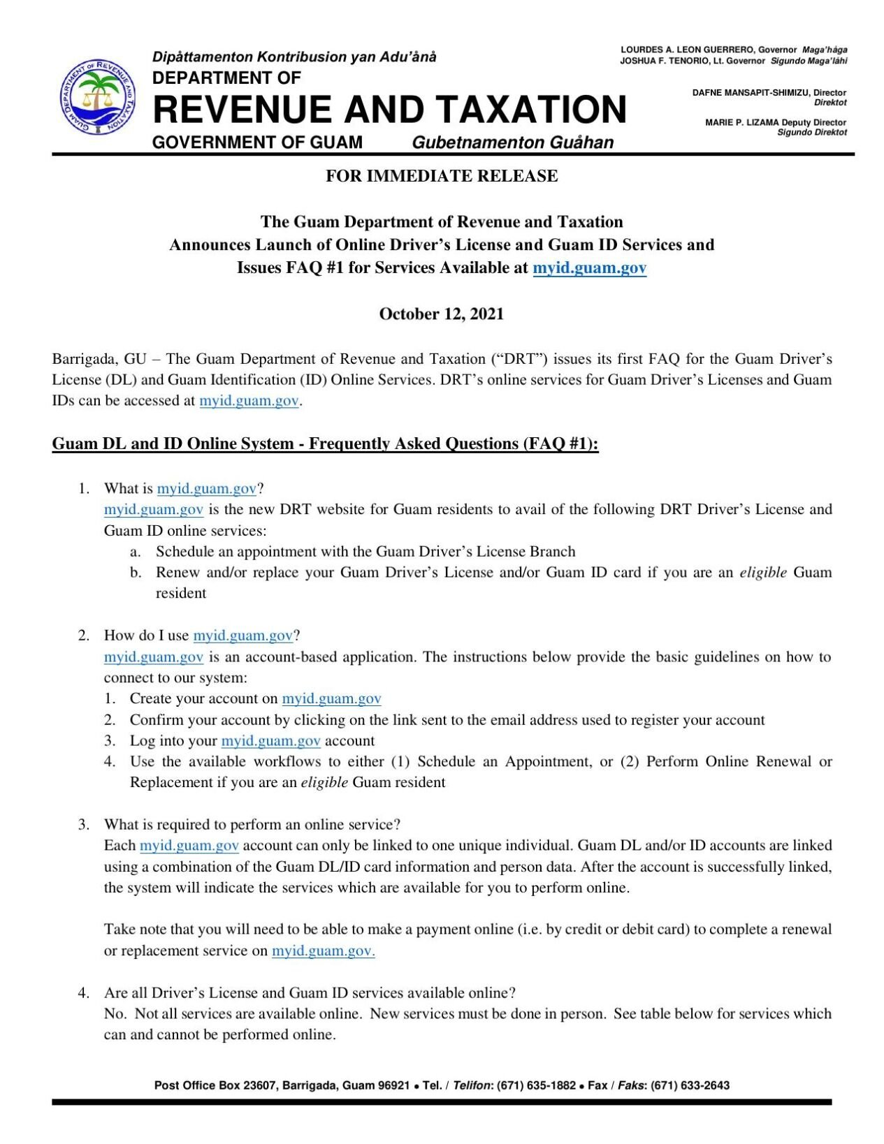 ID/driver's license online portal FAQ