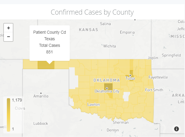 COVID-19 cases in Texas County as of May 22