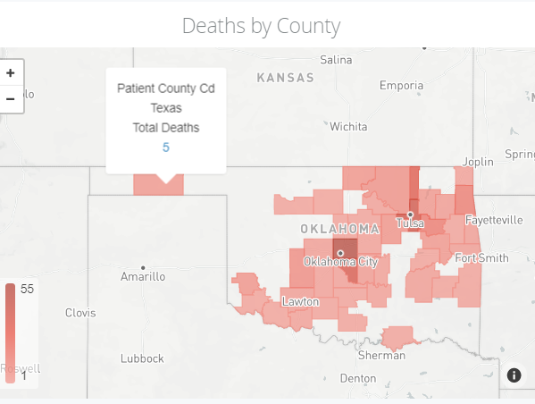 COVID-19 deaths in Texas County as of May 22