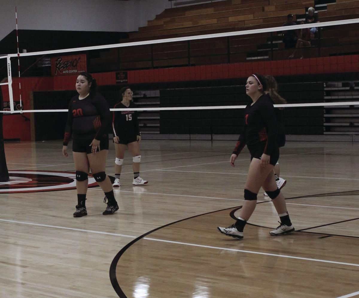The Guymon High School Volleyball team takes the win over Fort Elliott