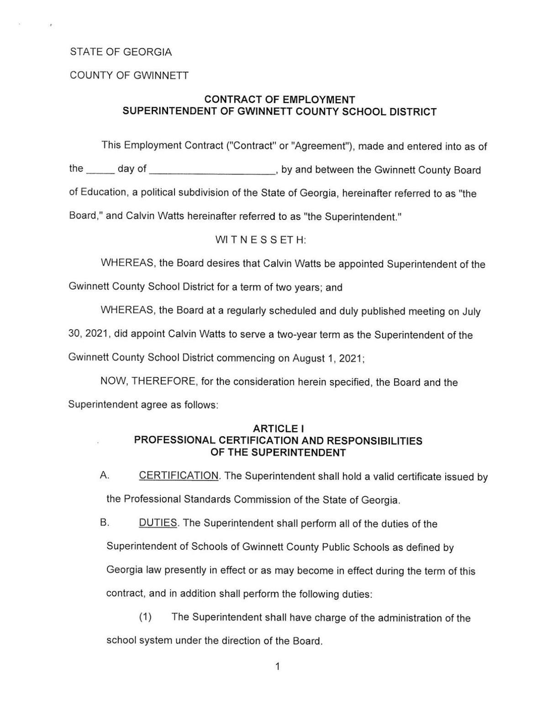 Employment contract for new Gwinnett school Superintendent Calvin Watts