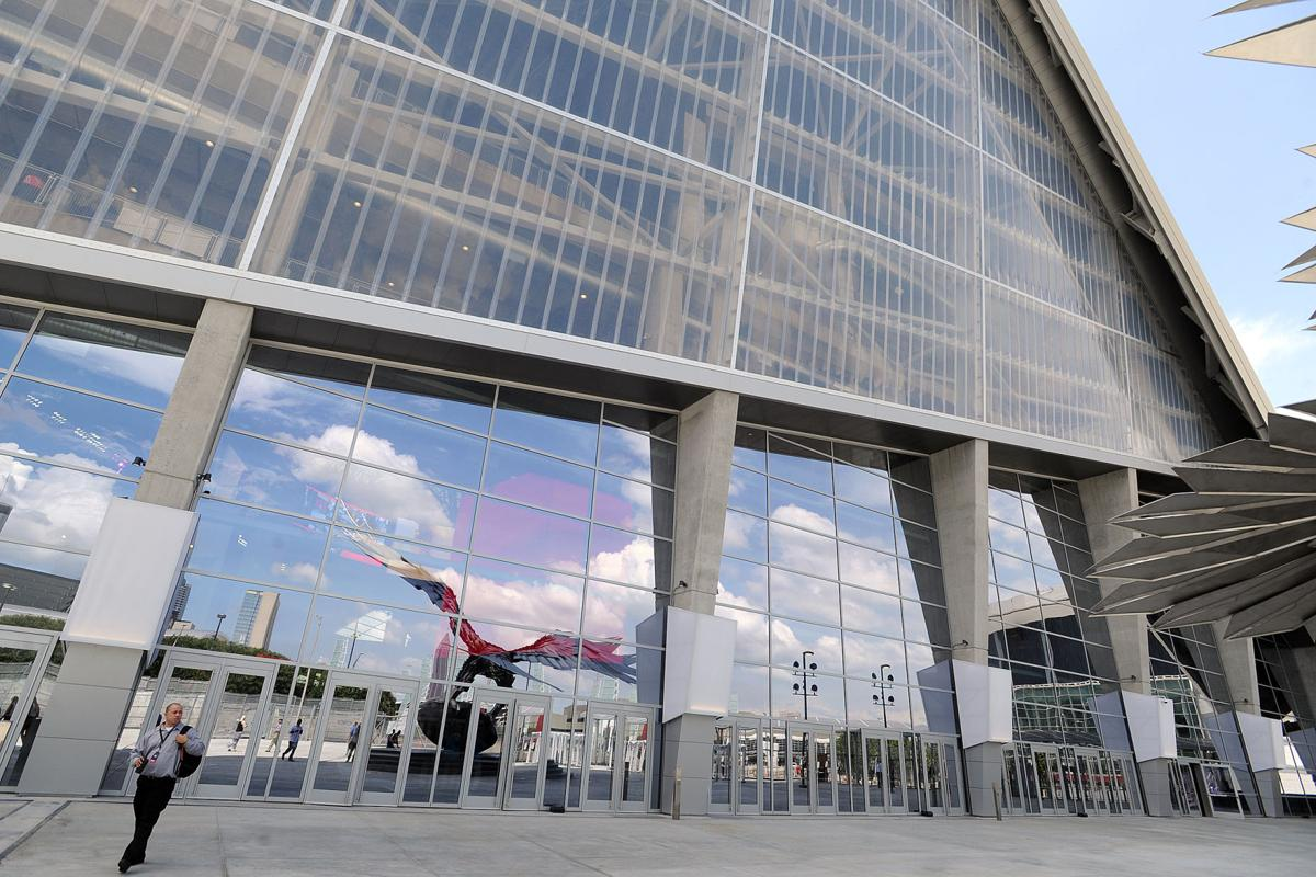 A look inside mercedes benz stadium days before it opens for Mercedes benz stadium falcon statue