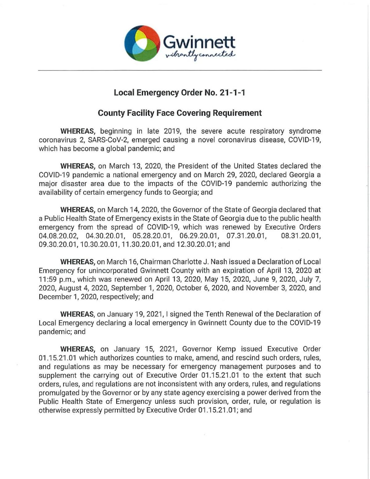 Gwinnett County face mask executive order