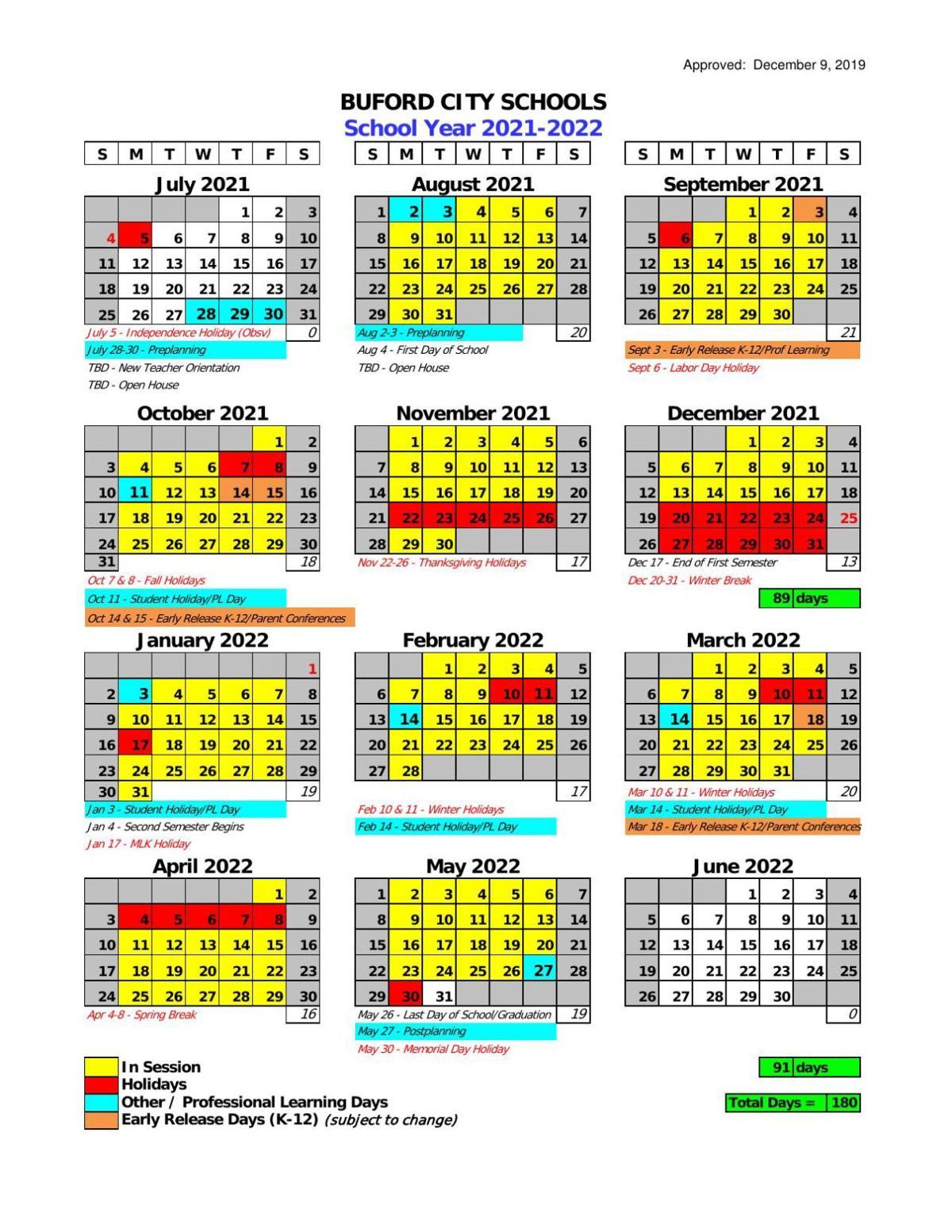 Buford City Schools 2021 22 School Calendar | | gwinnettdailypost.com