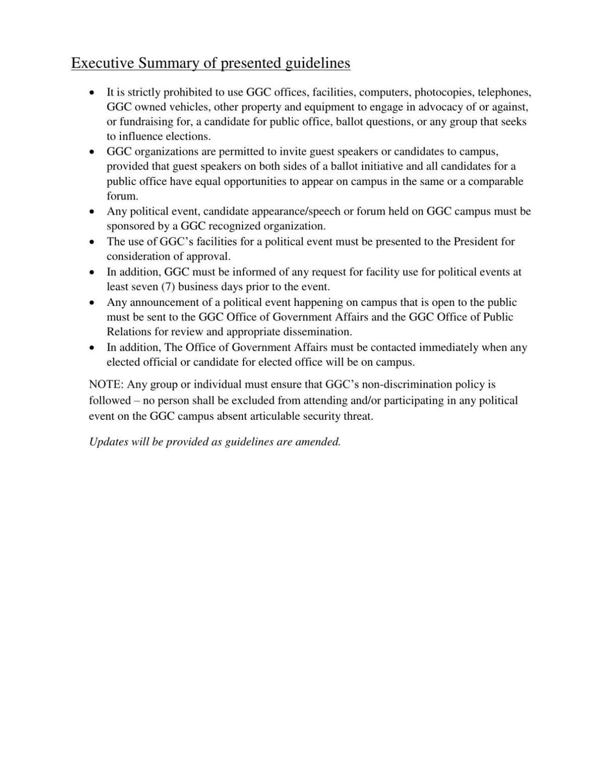 GGC Executive Summary Regarding Political Campaigns and Speech