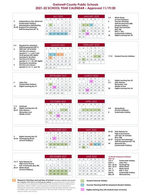 Gwinnett Calendar 2021