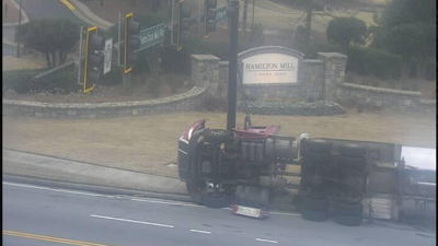 Overturned gas tanker truck has Hamilton Mill Rd. shut down at Braselton Highway