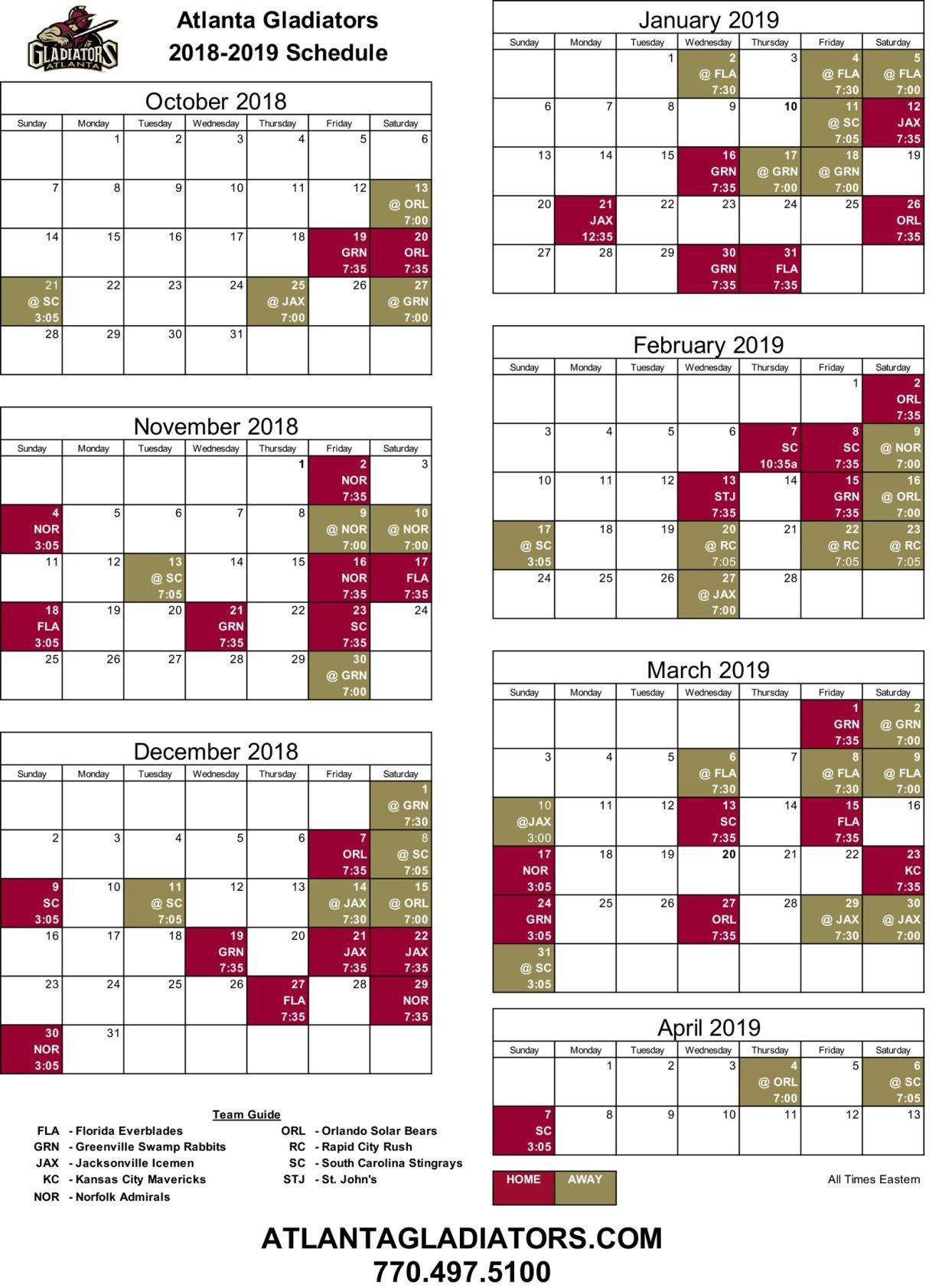 photograph relating to Atlanta Braves Printable Schedule known as Gladiators launch 2018-19 agenda Gladiators
