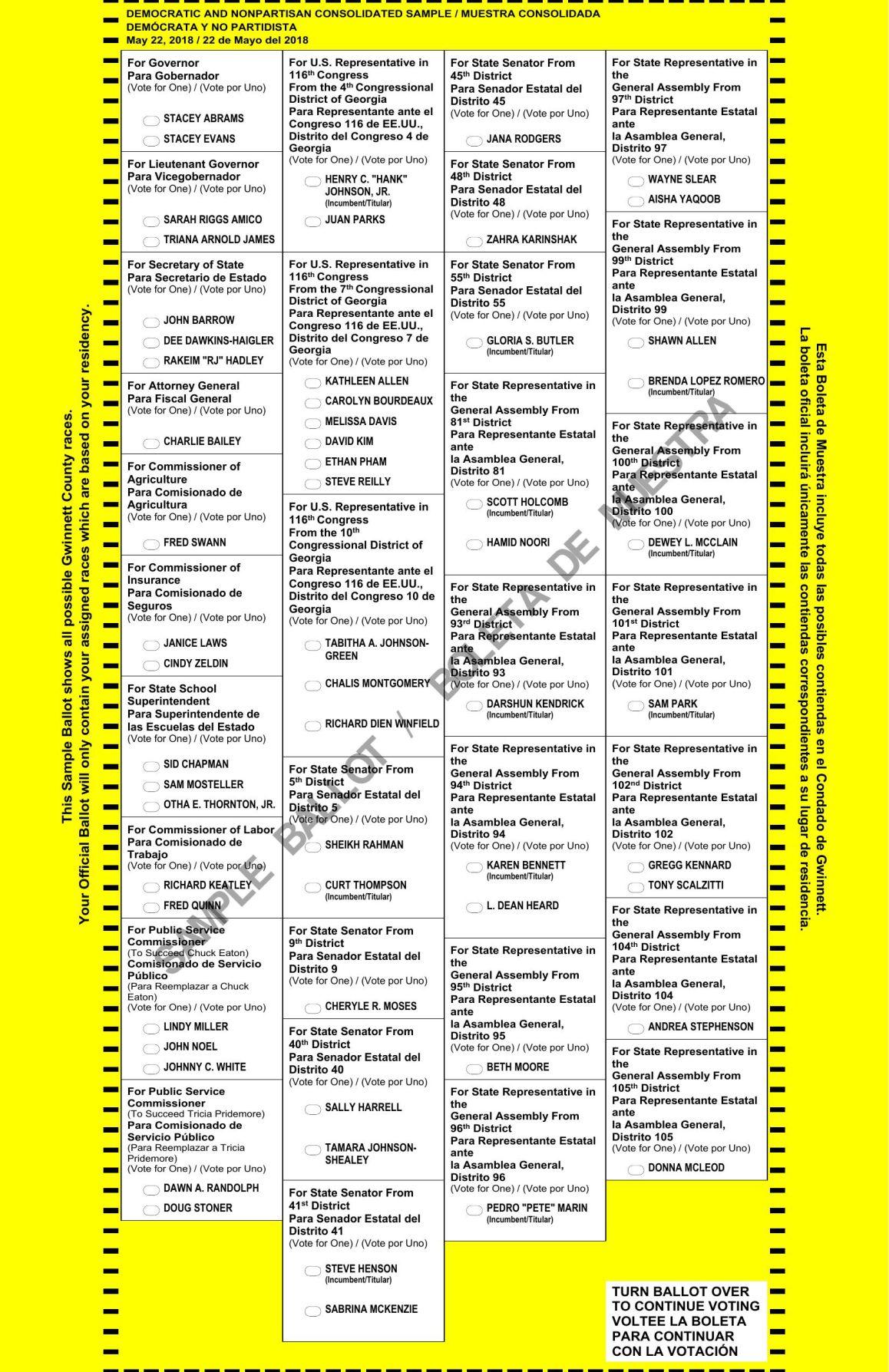 Gordon county sample ballot for nov. 6 general election.