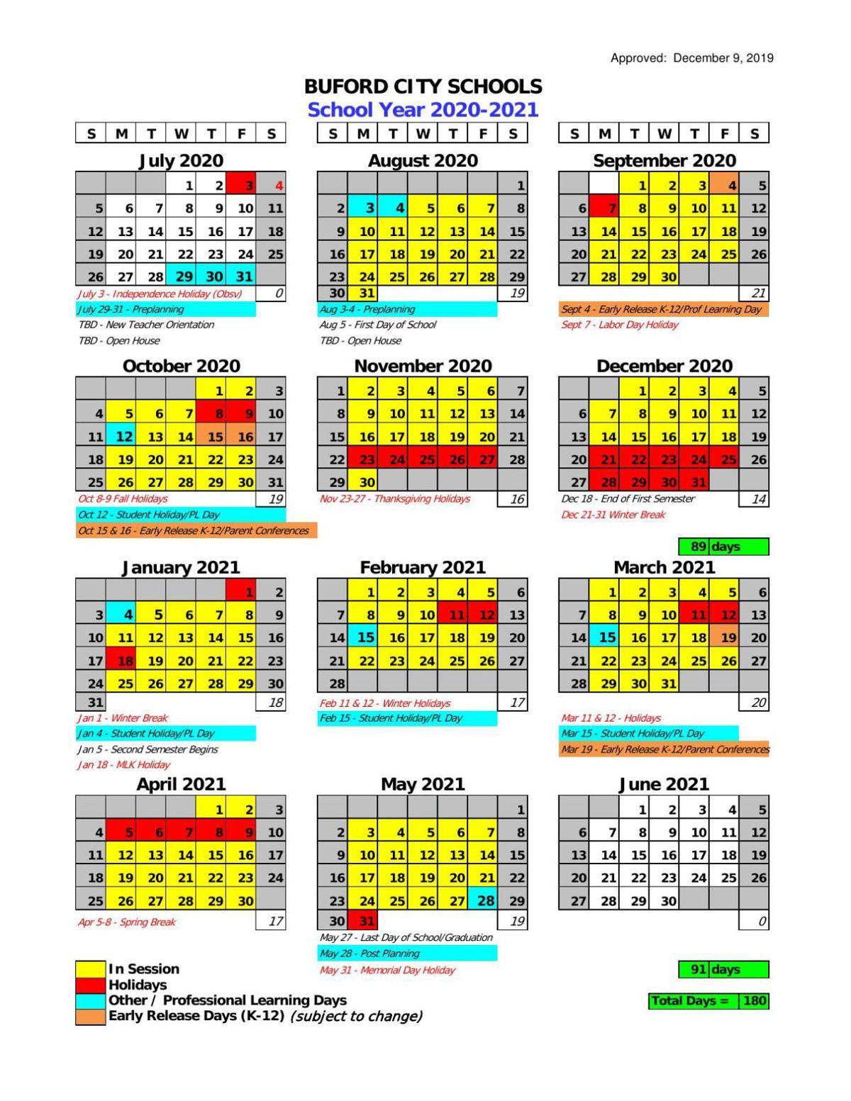 Coweta County School Calendar 2021-22 Buford City Schools 2020 21 Calendar | | gwinnettdailypost.com