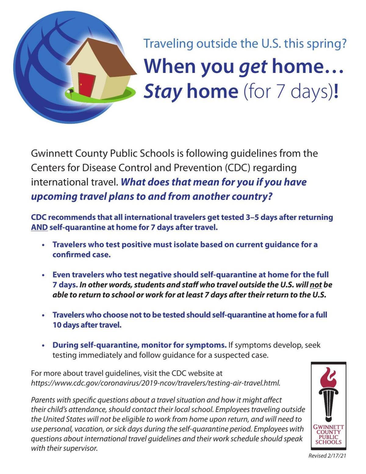 GCPS flyer outlining quarantine rules for internationsl travelers