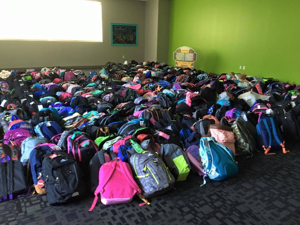 Cline Book Bag Giveaway Takes A Community