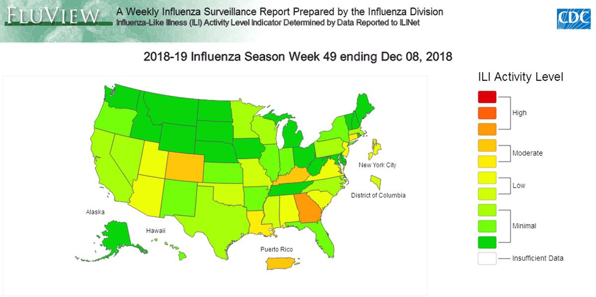 As flu season gets rolling, Georgia hit harder than any state | News Cdc Flu Maps on