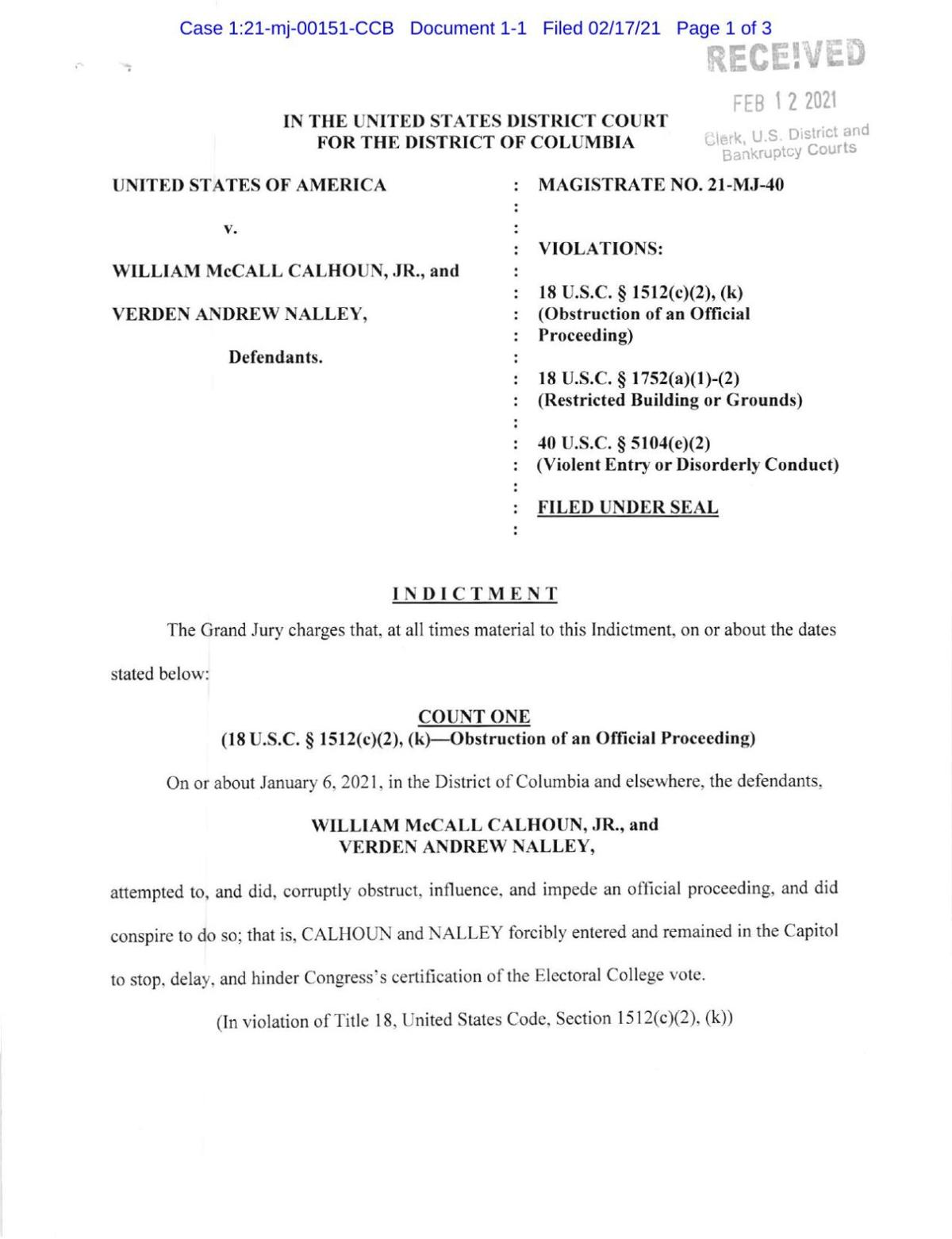 Verden Nalley and William Calhoun federal indictment