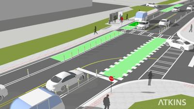 Peachtree Corners autonomous vehicle test track rendering