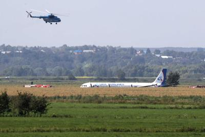 Russian jet crash-lands in field outside Moscow after striking flock of gulls