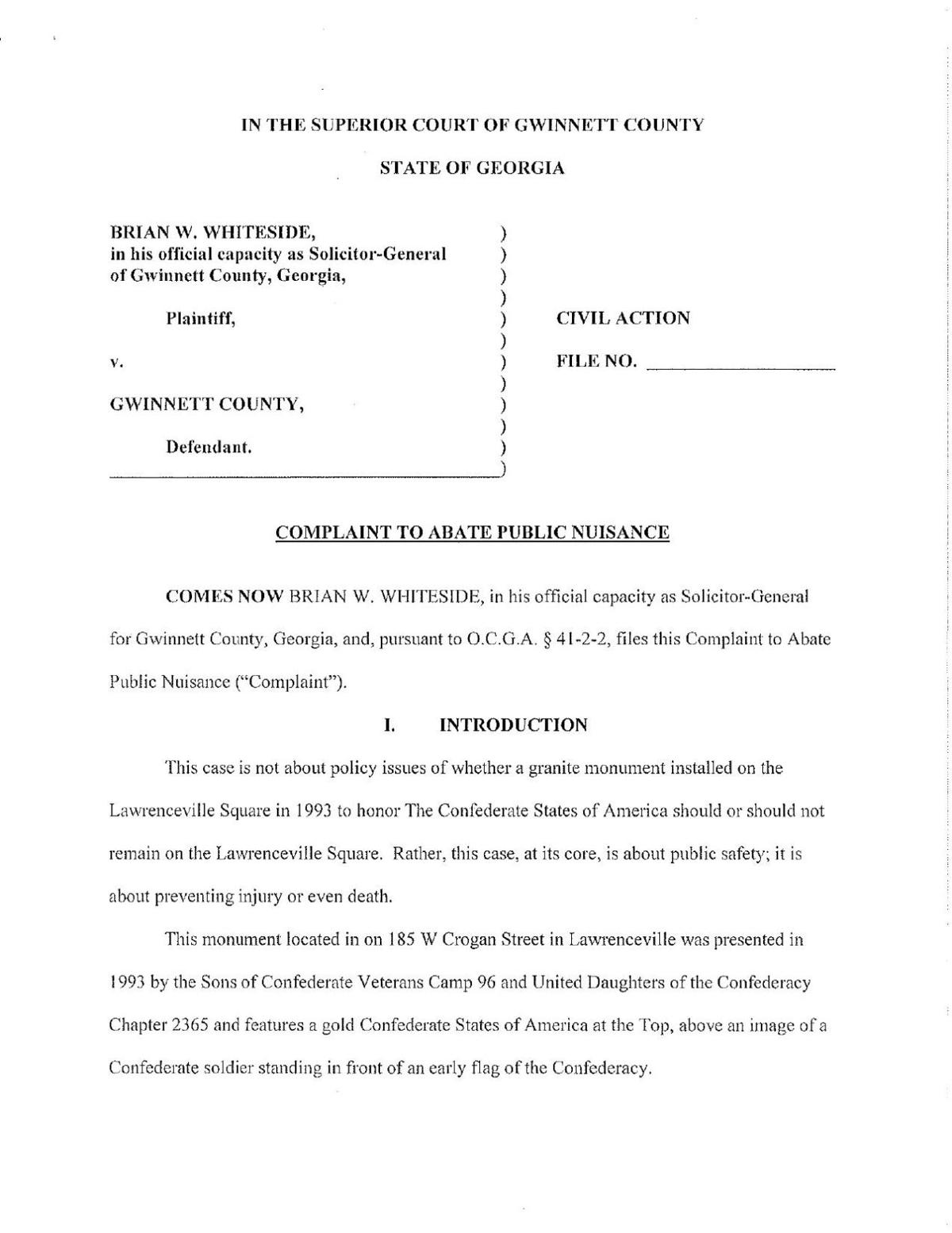 Gwinnett solicitor General Brian Whiteside's complaint asking for Confederate monument's removal
