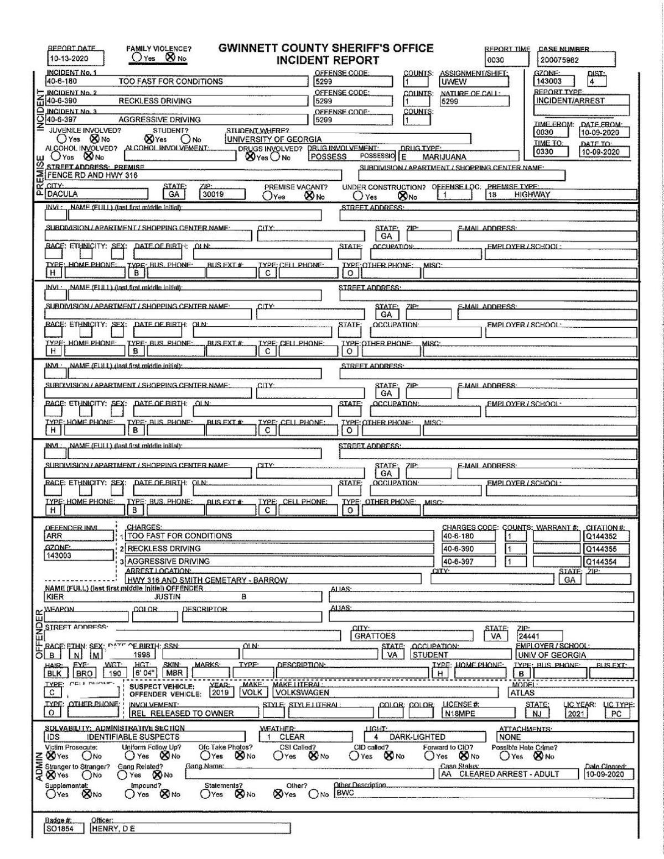 Justin Kier arrest report