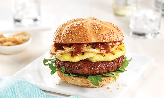 Grilled Pineapple Burgers with Honey Garlic Barbecue Sauce