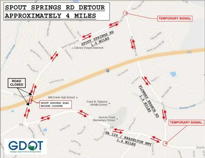 I 85 Collapse Atlanta Map.Spout Springs Road Bridge Over I 85 To Close Monday For Six Months