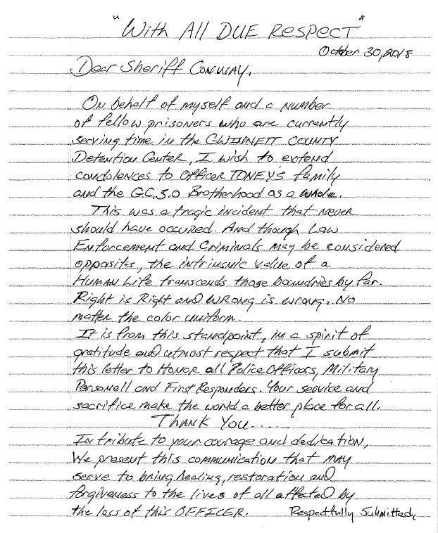 Gwinnett inmates pen letter, express condolences for Gwinnett Police Officer Antwan Toney's death