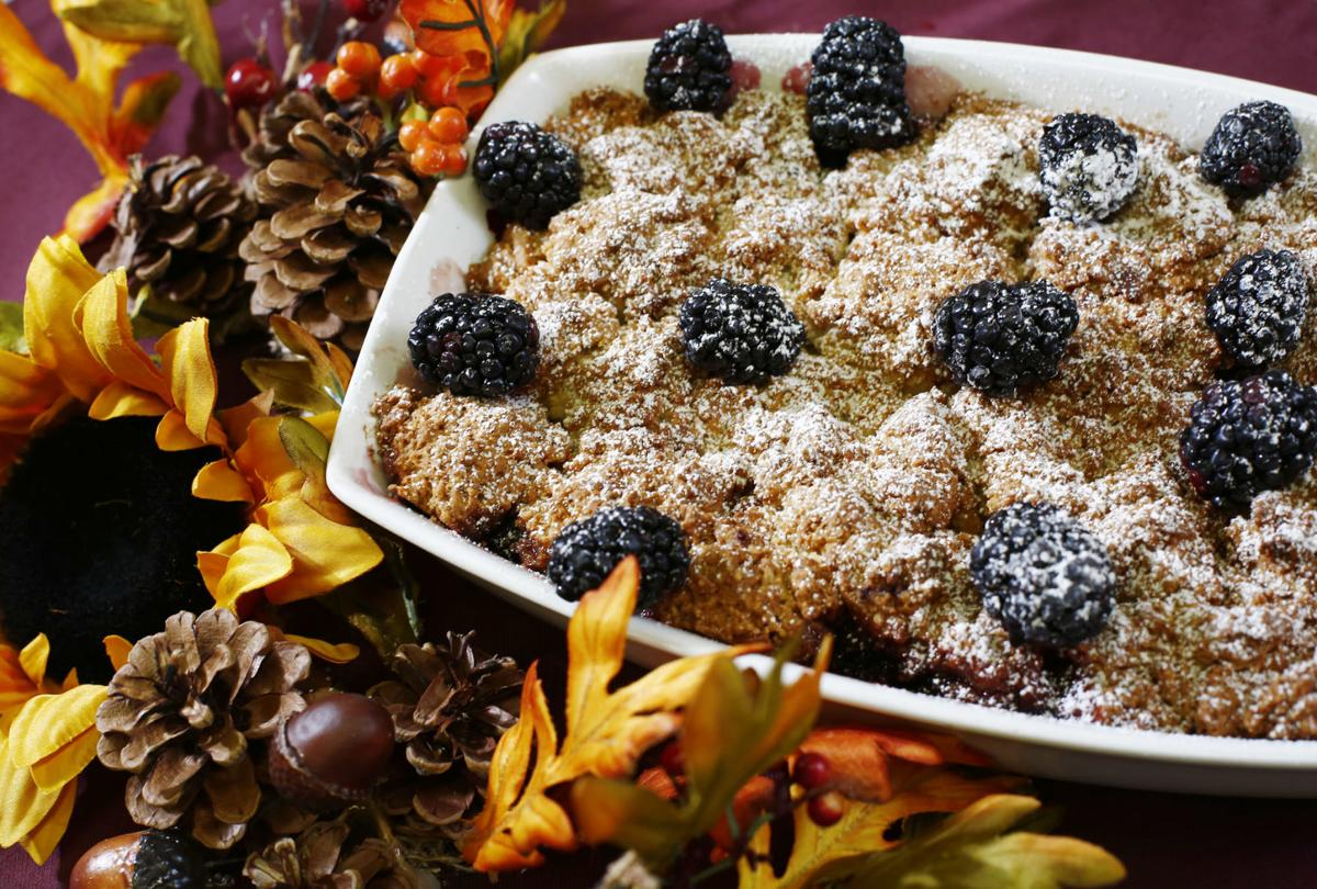Blackberry Apple Cobbler with  Cinnamon Chip Ice Cream Scone Topping
