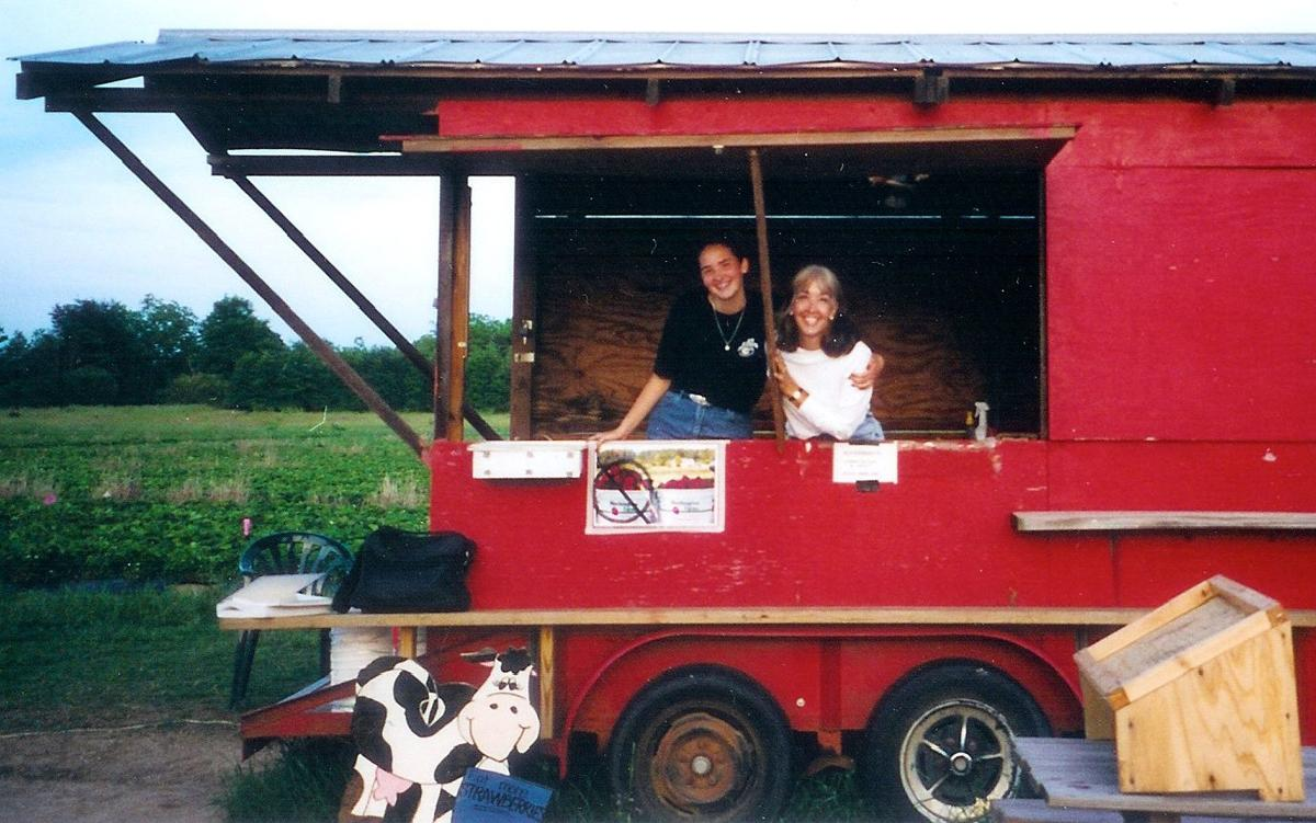 Donna Washington with daughter, Amy is strawberry selling shed, 2001.jpg