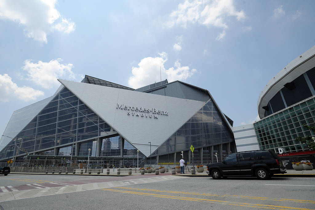 mercedes benz stadium in the finishing phase college