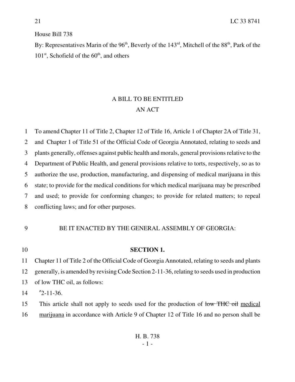 Bill to legalize manufaturing, dispensing of medical marijuana in Georgia