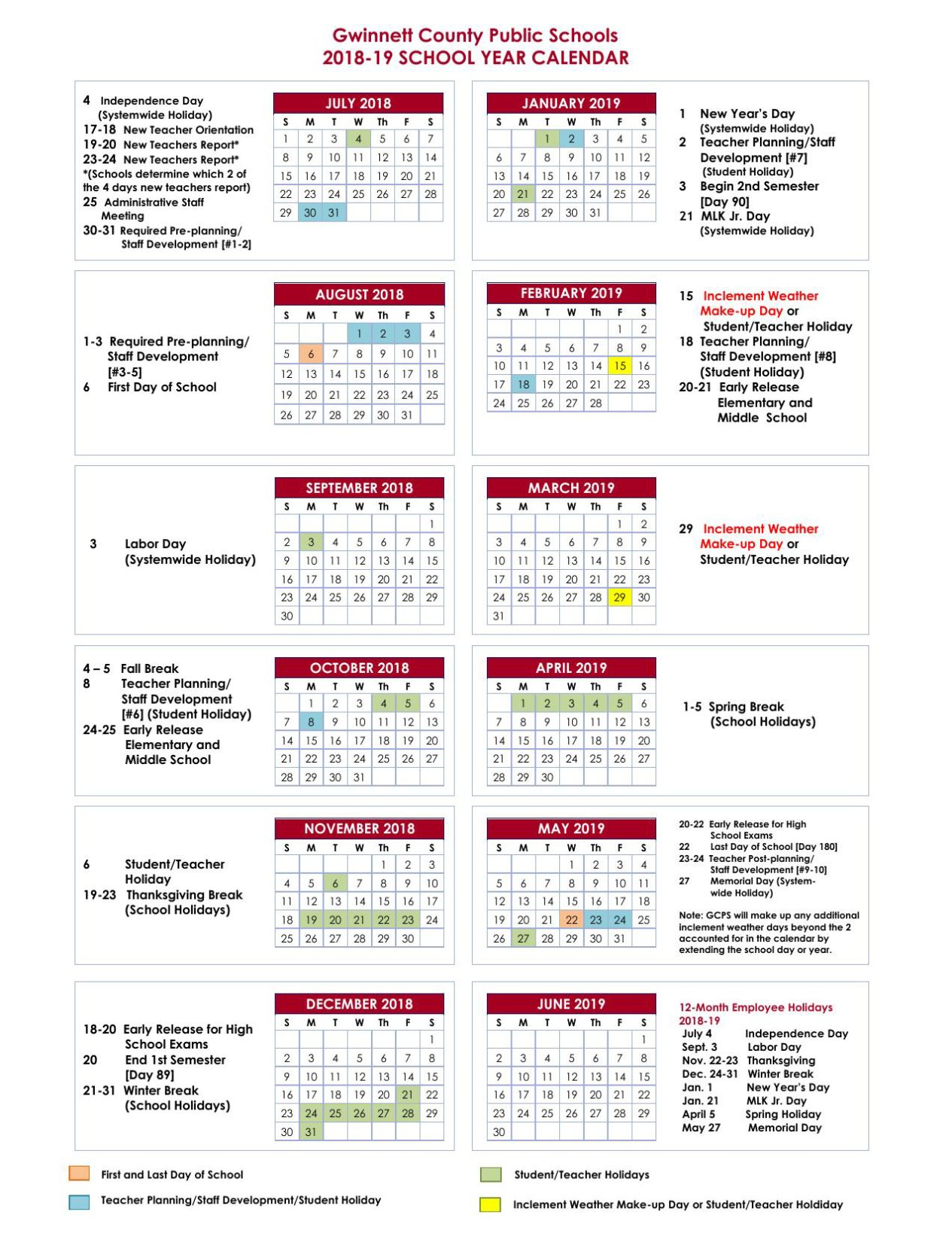 2018 17 school calendar   Yeni.mescale.co