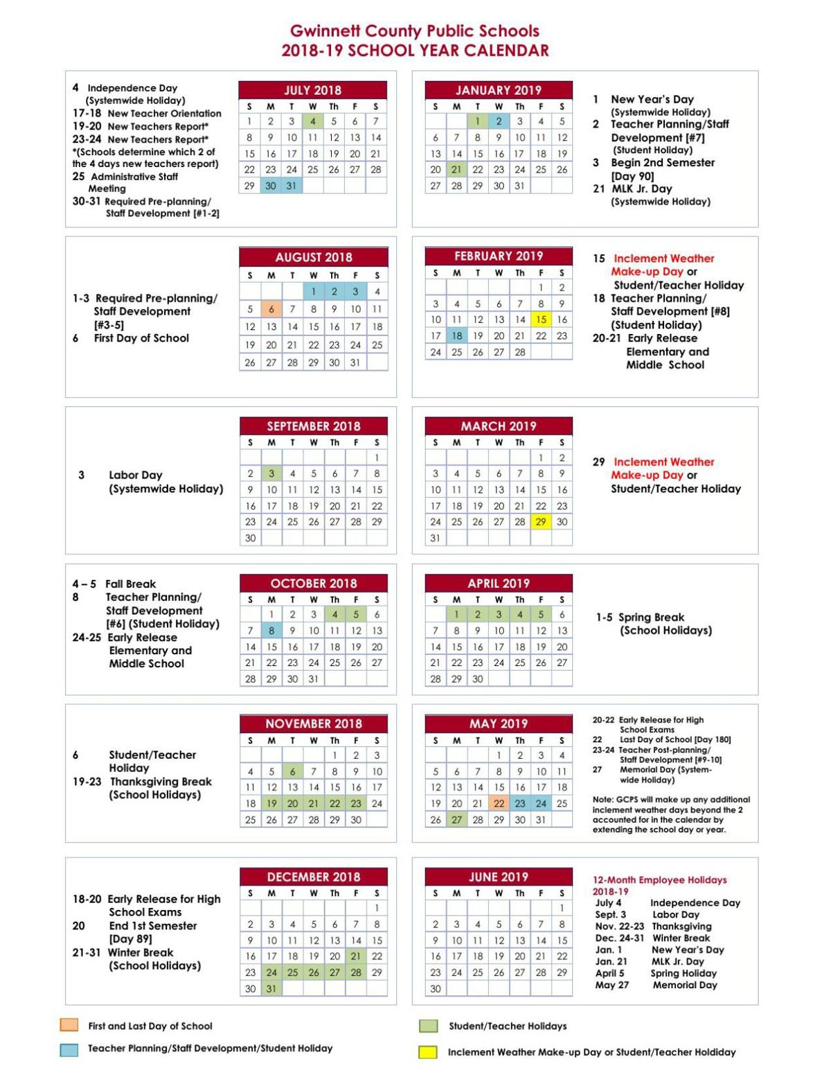 Download PDF GCPS 2018-19 Calendar