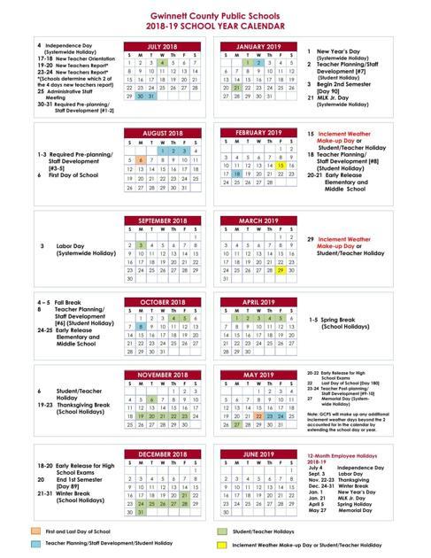 Gwinnett County School Calendar 2019 16 GCPS 2018 19 Calendar | | gwinnettdailypost.com
