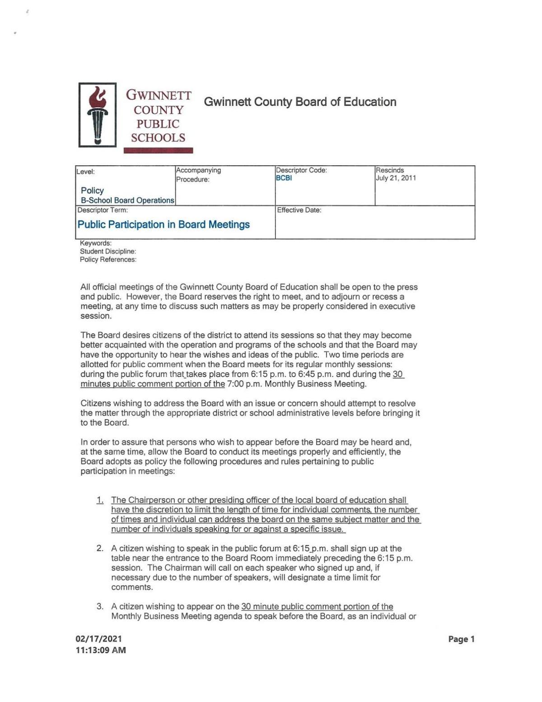 Proposed school board policy regarding public comment