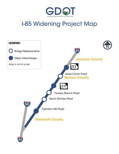 Map Of I 85 Georgia.Gdot Shifting Traffic To Accommodate I 85 Widening News