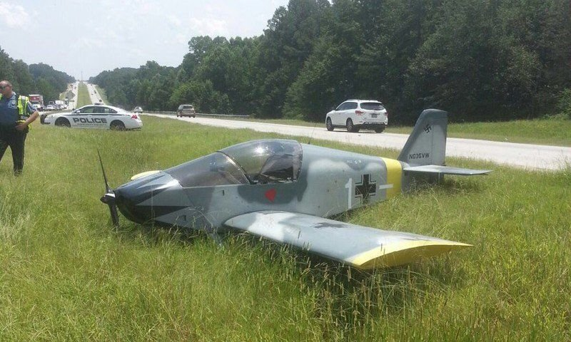 Plane with Nazi paint job lands on USA highway