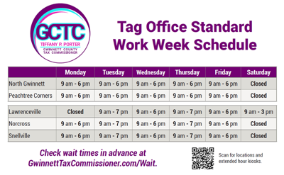 Gwinnett County Tax Commissioner's Office New Tag Office Hours.png
