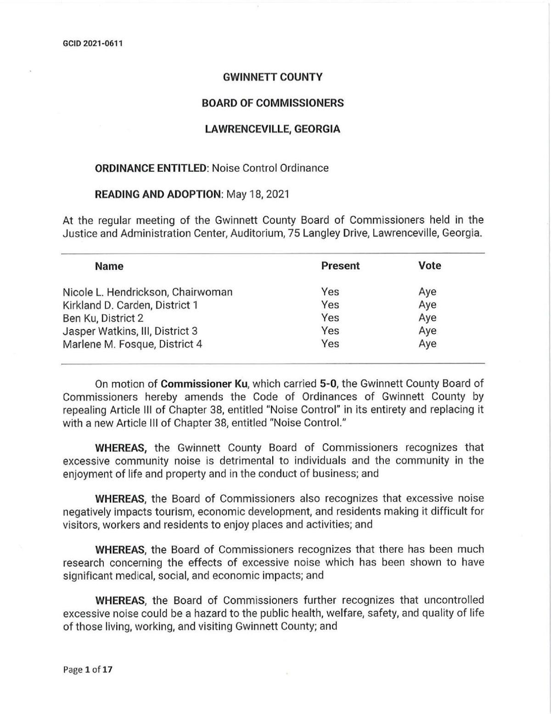 Gwinnett's new noise ordinance