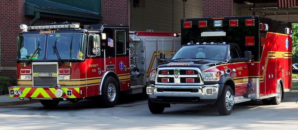 Fire truck and engine
