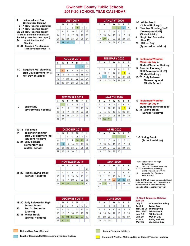 Atlanta School Calendar 2020 GCPS 2019 20 Calendar | | gwinnettdailypost.com