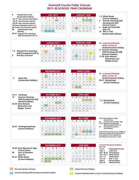 Gwinnett County Schools Calendar 2019 GCPS 2019 20 Calendar | | gwinnettdailypost.com
