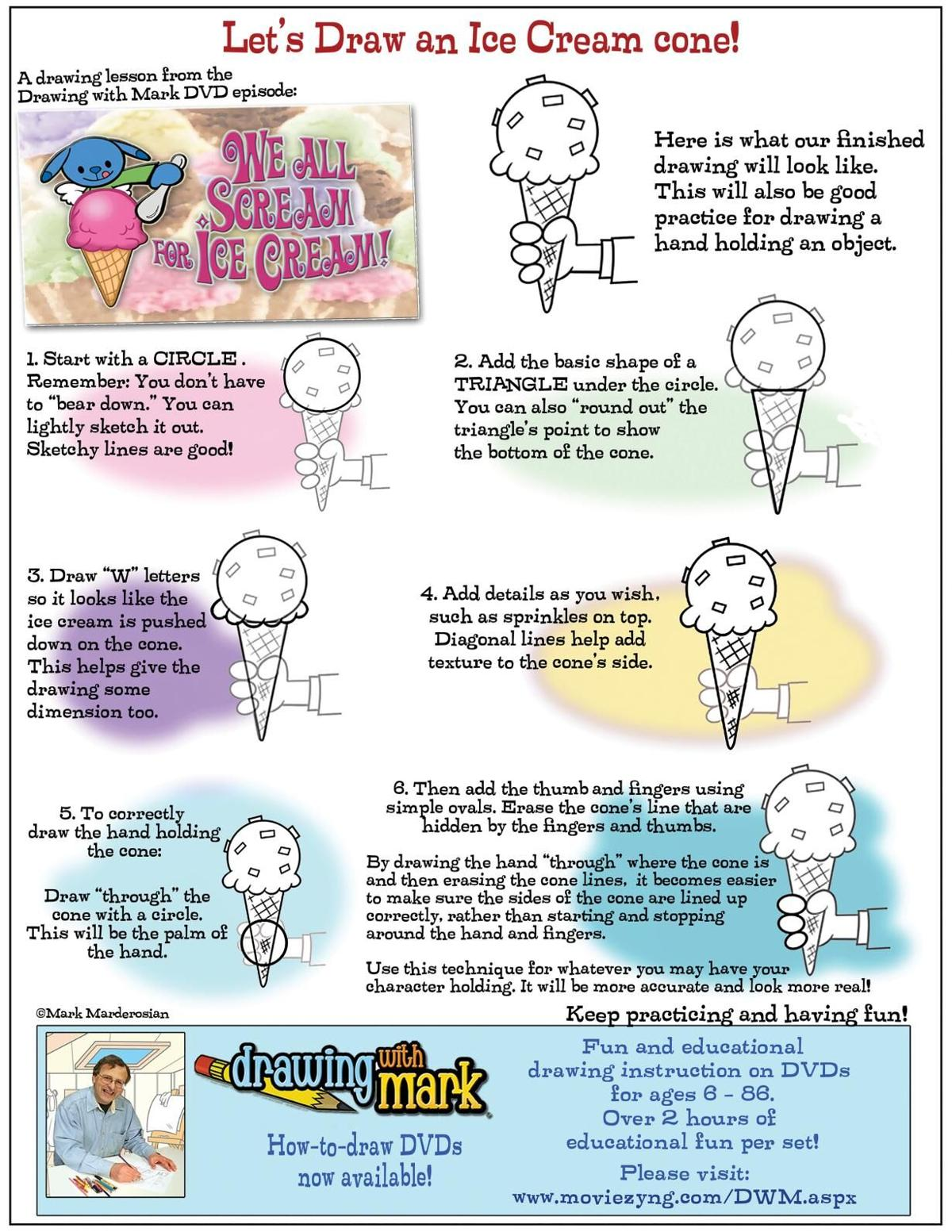 Draw an ice cream cone with Mark
