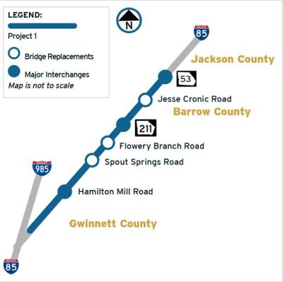 GDOT announces reduced sd along I-85 construction zone | News ... on il road closures map, ill weather map, illinois road map,