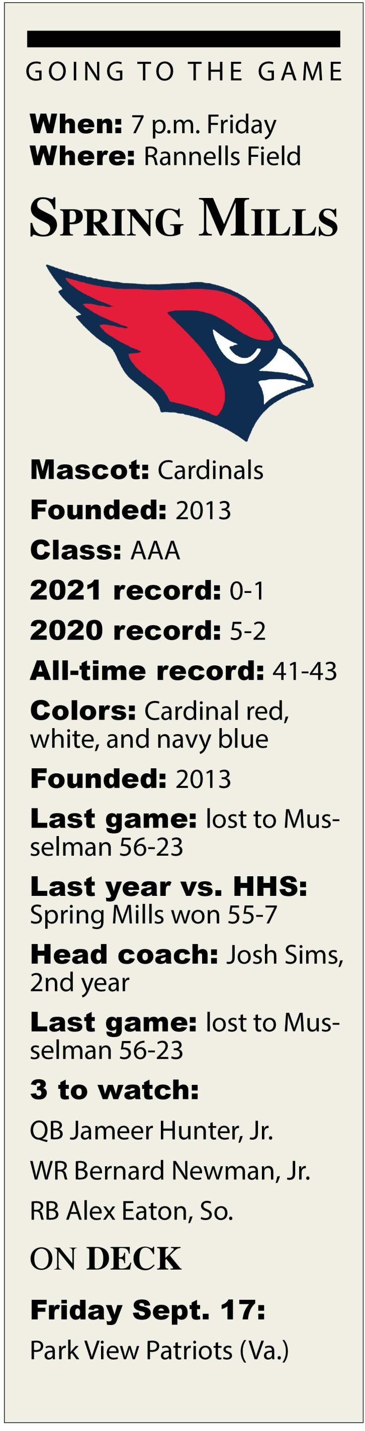 Spring Mills Game Preview