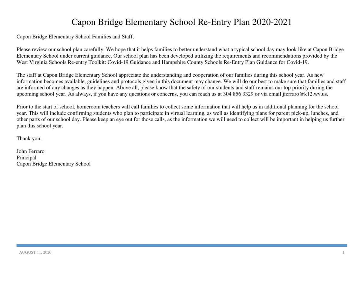 Capon Bridge Elementary Back-to-School Plan